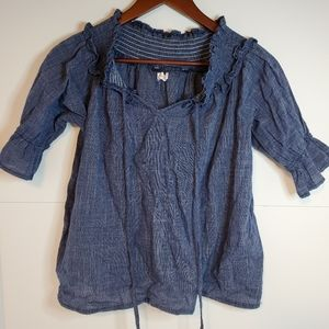 Blue off shoulder blouse small